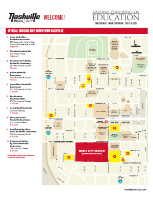 Map of official AASA's 2022 National Conference on Education hotels